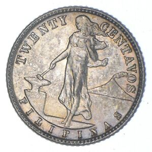 Roughly the Size of a Nickel 1945 Philippines 20 Centavos World Silver Coin *633