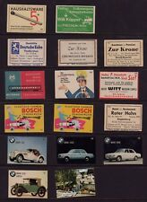 GERMANY #11 array of 16 old MATCHBOX LABELS cars hotels train etc