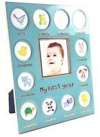BABY'S FIRST YEAR Photo Frame Baby Boy Shower Newborn Gift Keepsake - 13 Photos