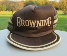 VINTAGE 1980s, BROWNING SHOTGUNS, 3 STRIPES, BROWN TRUCKER HAT, FULL, SNAP, USA