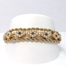 RETRO VINTAGE SOLID 14K GOLD SAPPHIRE SEED PEARL DOUBLE ROPE BRACELET Sz 7.5""