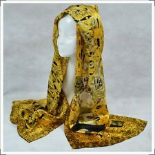 "Oblong 100% Charmeuse Silk Scarf Art Oil Painting Klimt's ""Portrait of Adele"""