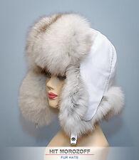 Blue FOX Fur Hat White Bomber Ushanka Ski Winter Schapka Pelzmütze Fliegermütze