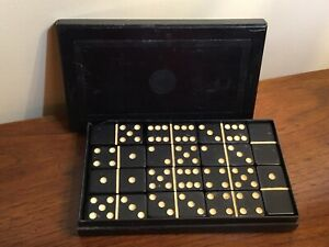 VTG 28-Piece Dominoes, Elk Brand Black Elkoid Bakelite Tiles, Box w/ Some Damage