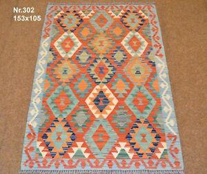 Handgewebter Orient Kelim Afghan Nr.302 - 153x105cm aus 100% Wolle