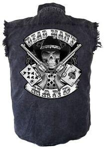 Mens Aces And Eights Dead Mans Hand Denim Sleeveless Cutoff Biker Shirt Pockets