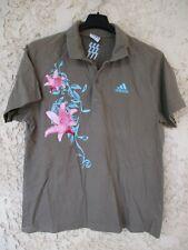 Polo rugby Stade Français Paris SF kaki fleur rose ADIDAS coton shirt M L