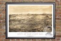 Vintage San Jose, CA Map 1869 - Historic California Art Old Victorian Industrial