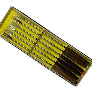 Vintage  Fondue Forks Color Coded Wood Handles In Box Woodcrest 1978 Set Of 6