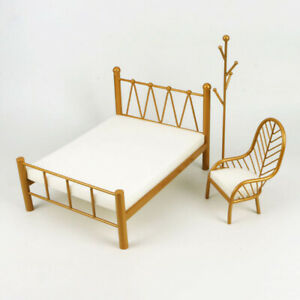 1/12 Dollhouse Miniature Single Bed Double Bed Coat Rack Sofa Chair Furniture