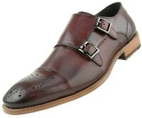 Asher Green AG1101 Formal Men's Genuine Calf Leather Shoes w Double Monk Strap
