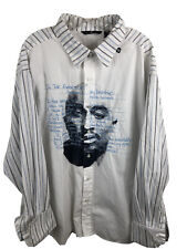 """Tupac Shakur Makaveli Branded """"In The Event Of My Demise"""" French Cuff Shirt 2XL"""