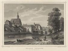 Steyr (Oberösterreich): Stadt Steyer von der Abendseite. - Stahlstich, um 1875
