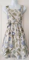 Womens Joe Browns Sage Green Floral Lattice 50s Vintage Retro Tea Dress 8 New.