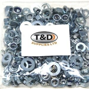 300g MIXED PACK ASSORTED ZINC BZP FULL NUTS NYLOC NUTS WASHERS