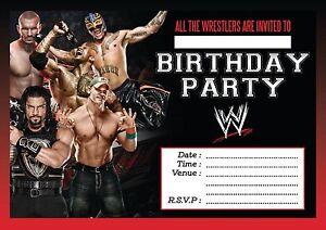 WWW WRESTLING BOYS BIRTHDAY PARTY INVITATIONS KIDS INVITES CHILDRENS 10,20,30,40