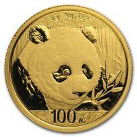 CH/GEM BU 2018 8 Gram Gold Chinese Panda Coin