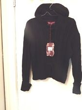 Kenpro Ladies Size Large Black Cable Knit Lined Thick Hooded Sweater - Nwts