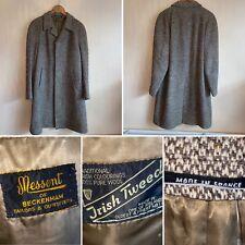 Vintage Size L 44 Brown Check Irish Tweed Coat French Women Landgirl Rockabilly