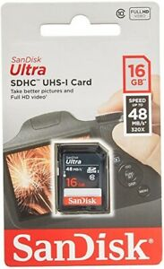 SanDisk 16GB Ultra SDHC Card Class 10 UHS-I Fast Memory Full HD Videos 48MB/s-UK