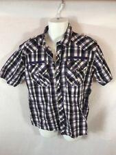 Men's SMOKE RISE Western Plaid Short Sleeve Pearl Snap Shirt Sz LARGE