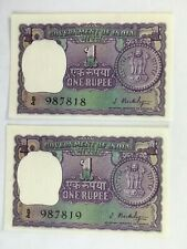 1949-1957 India Consecutive Serial # One Rupee Reserve Bank Note Set of 2 money