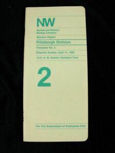 Norfolk Western NW Railroad RR ETT Timetable 1982 TT