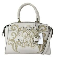 "** GUESS ""ALESSIA"" White Leather Satchel Bag Msrp $128.00"
