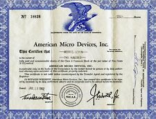 Vintage 1962 American Micro Devices No. 18838, Stock Certificate - 100 Shares