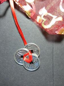 Talismane für Glück, Reichtum und Wohlstand 3 chinesische Glücksmünzen am Band