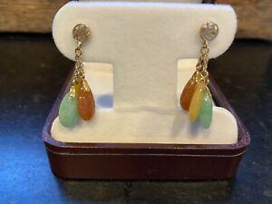 Estate 14K Yellow Gold 585 Dangle Earrings multi color stones , Asian