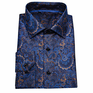 USA Mens Shirt Blue Long Sleeve Casual Button-Down Shirts Tops Paisley Formal