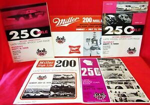 5~ MILWAUKEE MILE ~ USAC RACE PROGRAMS ~1968 ~2 1969 ~2 1970 Souvenir PROGRAMS
