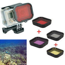 4 Colors Underwater Diving Filter Lens Cover UV Protector for GoPro Hero 4 3+