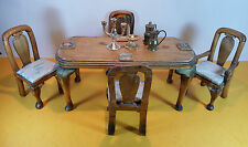 VINTAGE MINIATURE FURNITURE WOODEN GILDED DINING TABLE & 4 CHAIRS CABRIOLE LEGS