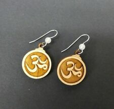 Om Dangle Earrings Carved Wood Handmade Ohm Hanging Drop French Hook Ear Wire