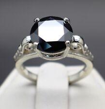 3.16cts 9.50mm Auténtico Natural Diamante Negro 10 Quilates Blanco Anillo de Oro