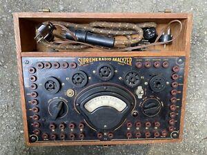 Supreme radio analyzer Model 339 tube tester w/ adapters etc vintage