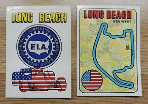 2 x LONG BEACH Motor Racing Stickers - Panini F1 Grand Prix 1980 - #8 #9 - Exc