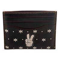 NWT COACH Disney Mickey Mouse Slim Leather Card Case Wallet Bandana Black F87132