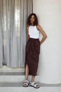 DISSH Brown Linen Midi Skirt