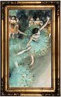 Degas Swaying Dancer (Dancer in Green) 1877 Wood Framed Canvas Print Repro 12x22