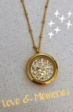 Memory Love Locket Floating Charms Gold Necklace Mothers Day Gift Set New