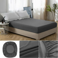 MOHAP Fitted Sheet Bed Sheet Deep Pocket, Elastic All Around, Microfiber Gray US