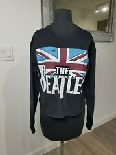 Beatles Graphic Cotton NEW BlackWomens Size Small  Crop Pullover Sweater Jumper