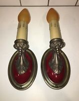 Early 1900's brass sconces with rare functional Hubbell pull chain-sockets 35A