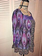 Xhilaration Peasant Blouse Sz L Floral Ruffled Embroidered Flowy Girly Dainty
