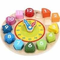 Wondertoys Wooden Shape Sorting Clock, With Numbers and Shapes, Teaching Time