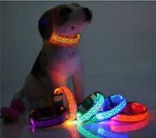 """LED Dog Collar - Pink Leopard w Pink LED - 3 Light Modes 12 1/2"""" to 15 1/2"""" NEW"""