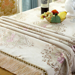 Chenille Tassel Tablecloth Table Fabric Cover Jacquard Floral Decor Kitchen